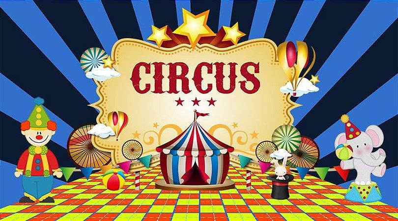 Painel de Festa em Tecido Sublimado 3d Circo Fundo Azul