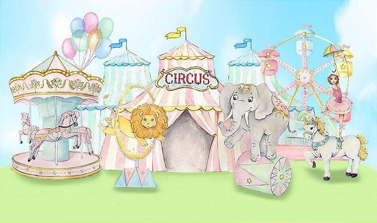 Painel de Festa em Tecido Sublimado 3d Circo Aquarela