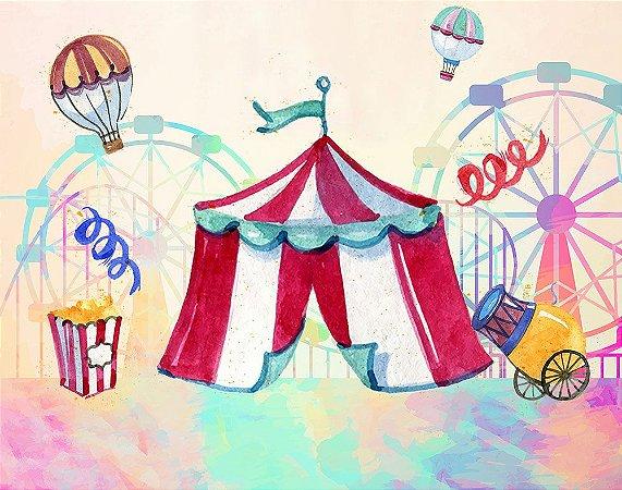 Painel de Festa em Tecido Sublimado 3d Circo Aquarelado