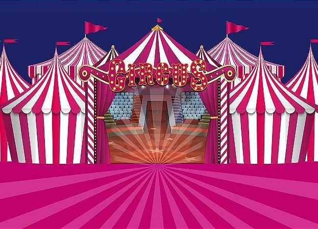 Painel de Festa em Tecido Sublimado 3d Circo Rosa Picadeiro