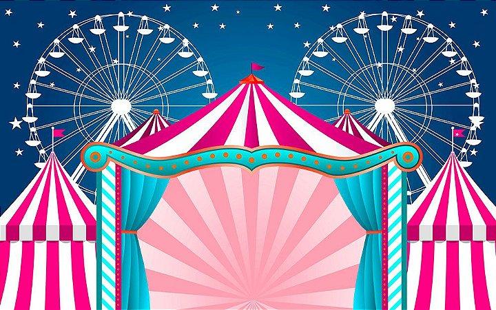 Painel de Festa em Tecido Sublimado 3d Circo Azul e Rosa