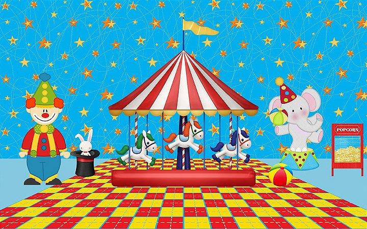 Painel de Festa em Tecido Sublimado 3d Carrossel Estrelado