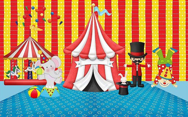 Painel de Festa em Tecido Sublimado 3d Circo mod2