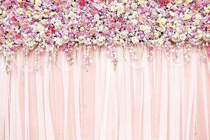 Painel de Festa em Tecido Sublimado 3d Cortina de Flores