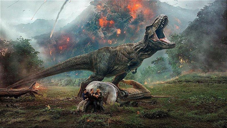 Painel de Festa em Tecido Sublimado 3d Dinossauros