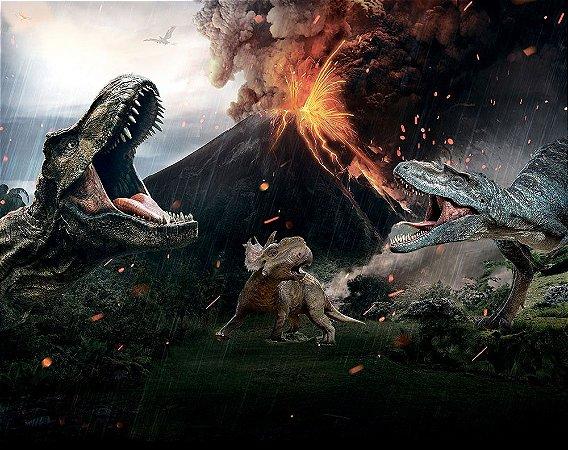 Painel de Festa em Tecido Sublimado 3d Vulcão Dinossauros