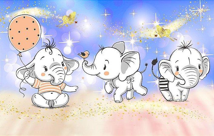 Painel de Festa em Tecido Sublimado 3d Lindos Elefantinhos