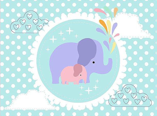 Painel de Festa em Tecido Sublimado 3d Lindos Elefantinhos Cute