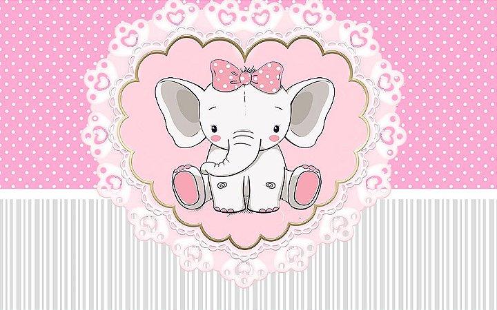 Painel de Festa em Tecido Sublimado 3d Lindo Elefantinho Rosa