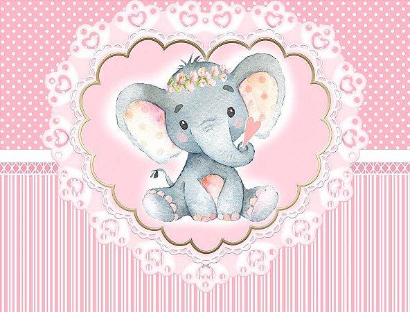 Painel de Festa em Tecido Sublimado 3d Lindo Elefantinho Rosa Cute