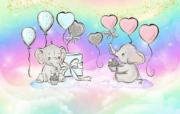 Painel de Festa em Tecido Sublimado 3d Elefantinhos Chá de Revelação
