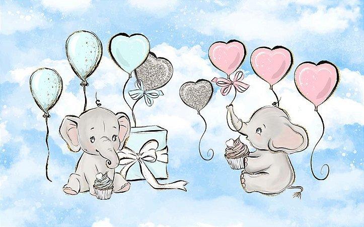 Painel de Festa em Tecido Sublimado 3d Elefantinhos Chá de Revelação Mod2