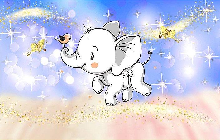 Painel de Festa em Tecido Sublimado 3d Elefantinho Mod2
