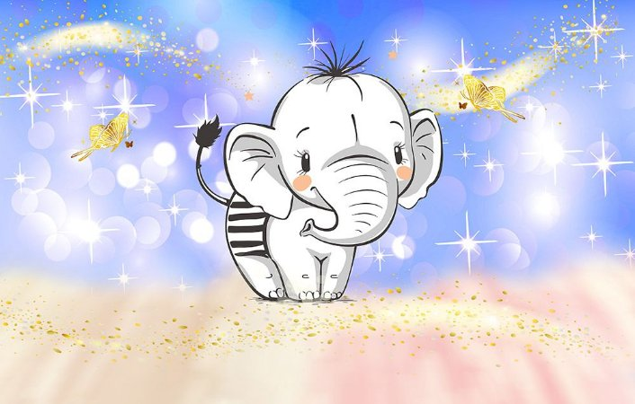 Painel de Festa em Tecido Sublimado 3d Elefantinho mod3