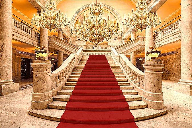 Painel de Festa em Tecido Sublimado 3d Escadaria Tapete Realeza