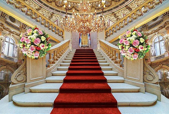 Painel de Festa em Tecido Sublimado 3d Escadaria Com Buques