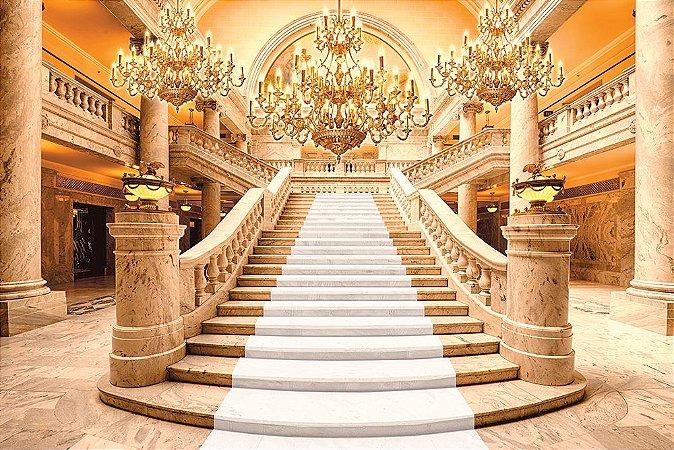 Painel de Festa em Tecido Sublimado 3d Escadaria Realeza Tapete Branco