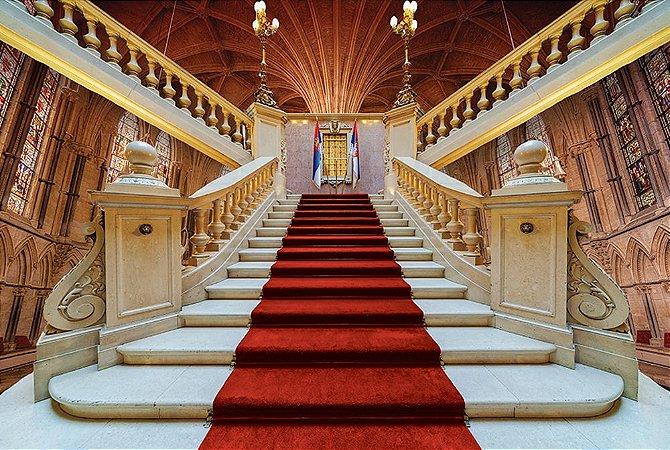 Painel de Festa em Tecido Sublimado 3d Escadaria da Abadia