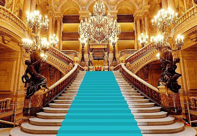 Painel de Festa em Tecido Sublimado 3d Escadaria Realeza Azul Tiffany