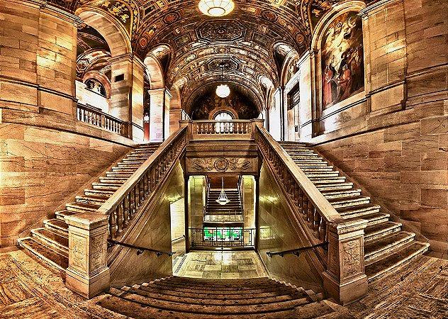 Painel de Festa em Tecido Sublimado 3d Escadaria Galeria