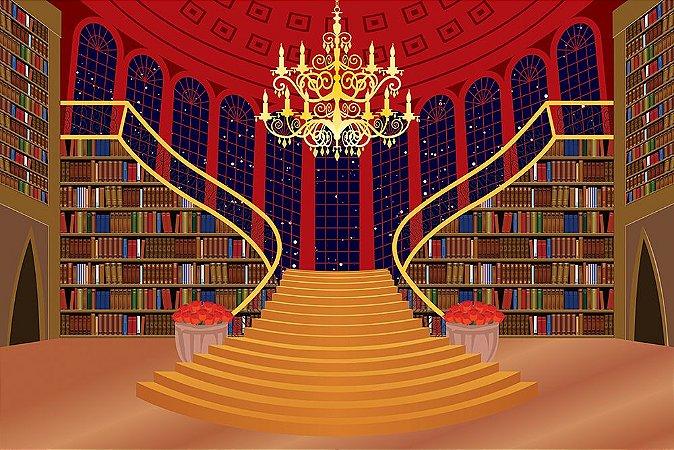Painel de Festa em Tecido Sublimado 3d Escadaria Livros