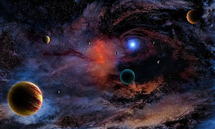 Painel de Festa em Tecido Sublimado 3d Planetas no Espaço