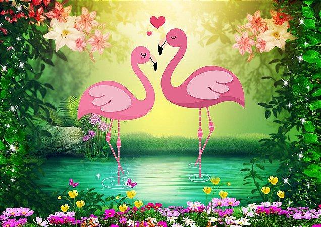 Painel de Festa em Tecido Sublimado 3d Flamingos na Floresta