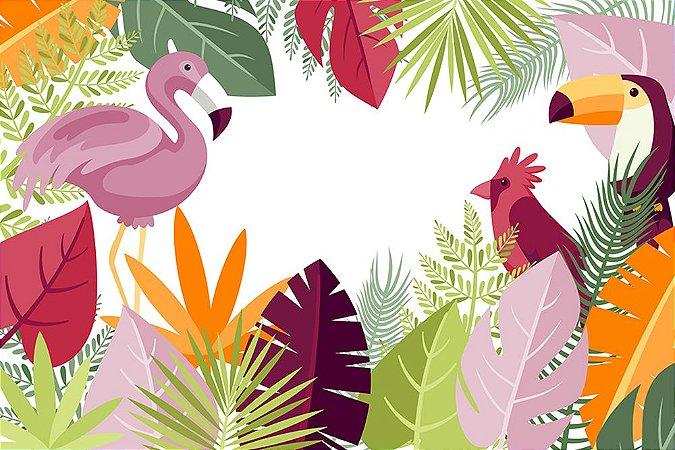 Painel de Festa em Tecido Sublimado 3d Flamingo e Tucano