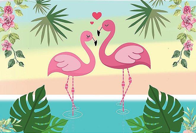 Painel de Festa em Tecido Sublimado 3d Flamingos Rosa
