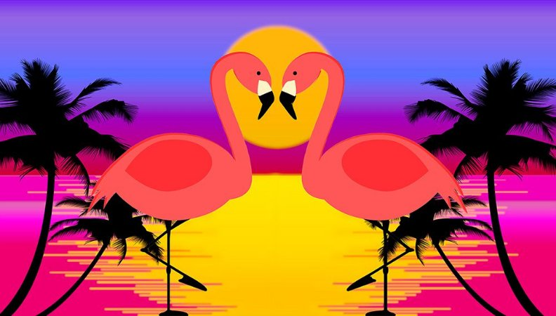 Painel de Festa em Tecido Sublimado 3d Flamingos Pôr do Sol