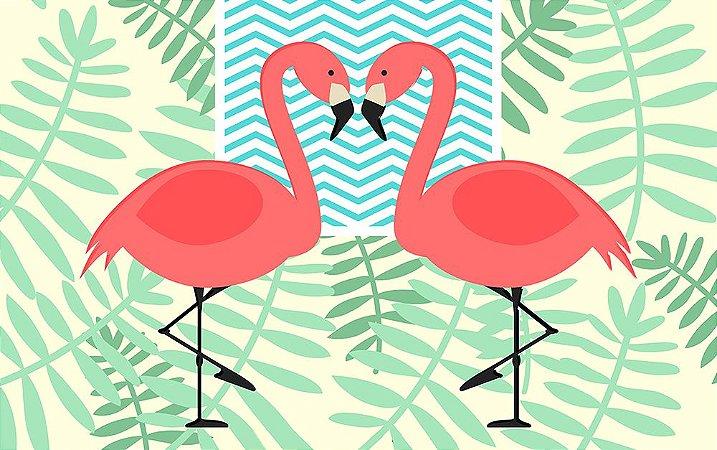 Painel de Festa em Tecido Sublimado 3d Flamingos e Folhagens