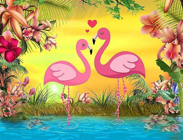 Painel de Festa em Tecido Sublimado 3d Flamingos Românticos