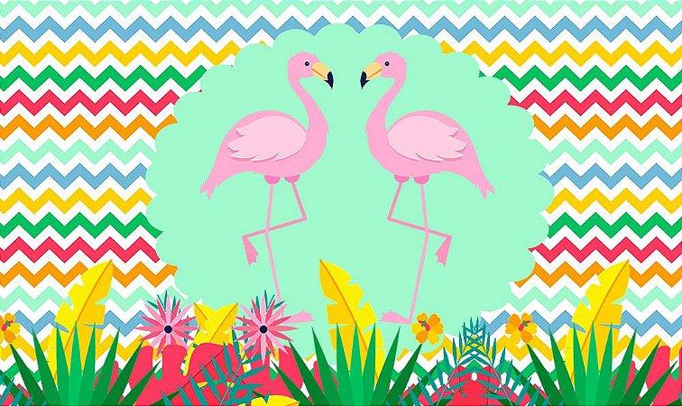 Painel de Festa em Tecido Sublimado 3d Flamingos Fundo Colorido