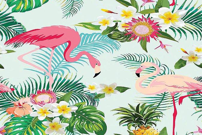 Painel de Festa em Tecido Sublimado 3d Flamingos Flores