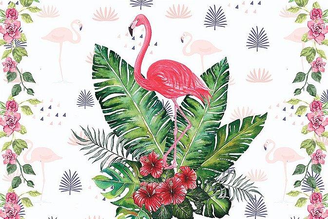 Painel de Festa em Tecido Sublimado 3d Flamingos mod2