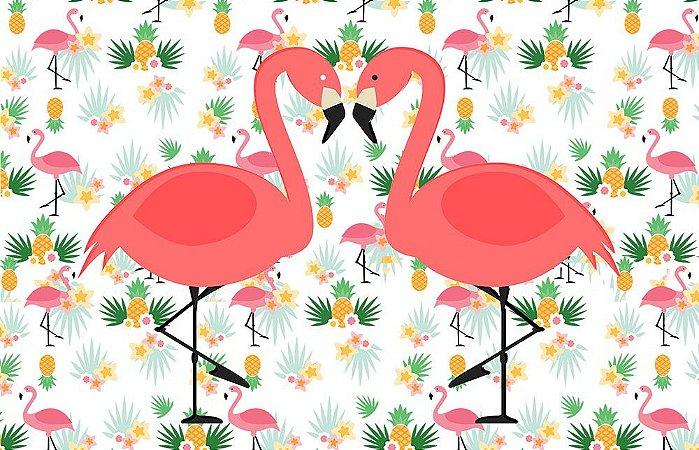 Painel de Festa em Tecido Sublimado 3d Flamingos Mod3
