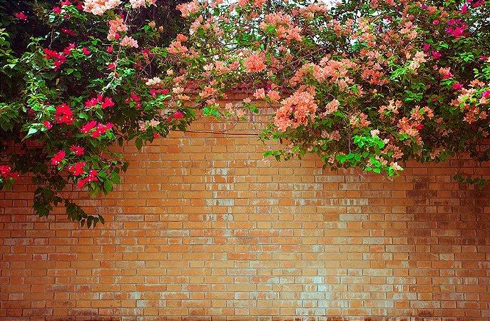 Painel de Festa em Tecido Sublimado 3d Muro de Tijolos e Flores