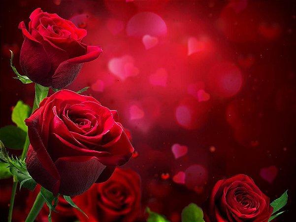 Painel de Festa em Tecido Sublimado 3d Belíssimas Rosas Vermelhas