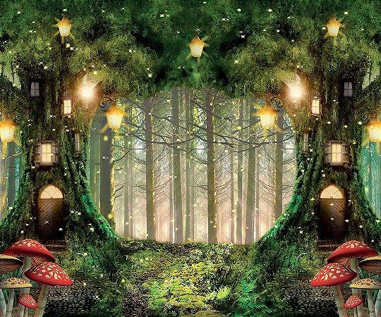Painel de Festa em Tecido Sublimado 3d Floresta Com Cogumelos