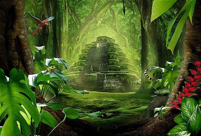 Painel de Festa em Tecido Sublimado 3d Templo Floresta Mágica
