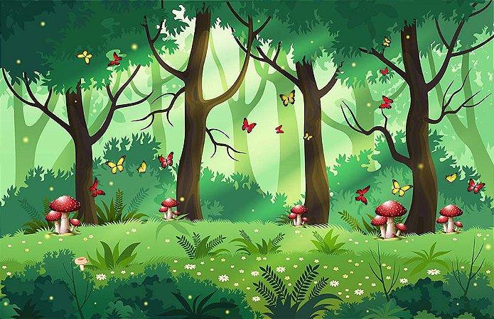 Painel de Festa em Tecido Sublimado 3d Floresta Cogumelos e Borboletas