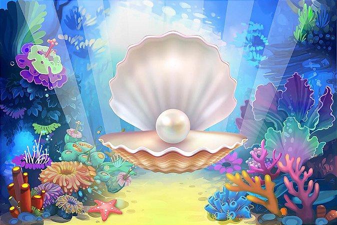 Painel de Festa em Tecido Sublimado 3d Fundo do Mar Concha