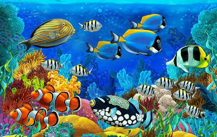 Painel de Festa em Tecido Sublimado 3d Fundo do Oceano Mod2
