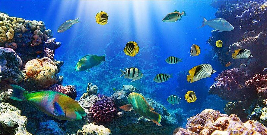 Painel de Festa em Tecido Sublimado 3d Peixes Tropicais Fundo do Mar