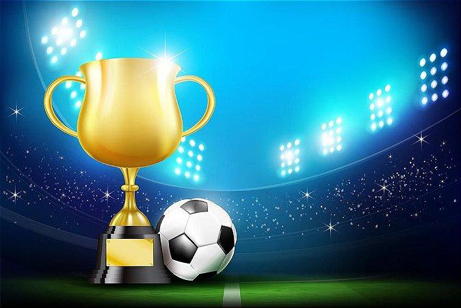 Painel de Festa em Tecido Sublimado 3d Taça de Futebol