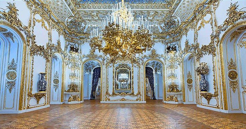 Painel de Festa em Tecido Sublimado 3d Hall Palácio Azul