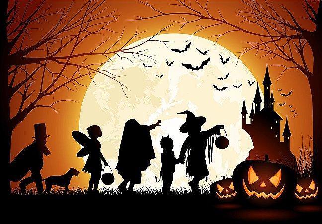 Painel de Festa em Tecido Sublimado 3d Halloween Lua
