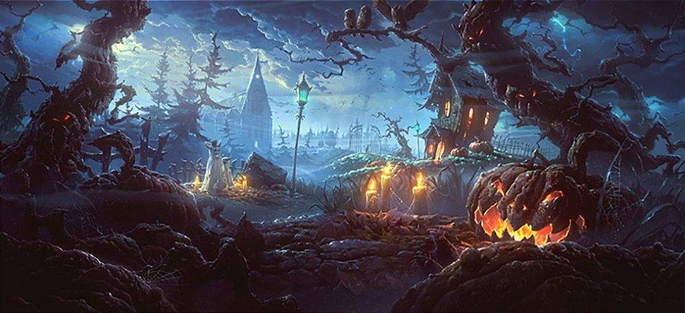 Painel de Festa em Tecido Sublimado 3d Halloween Floresta Escura