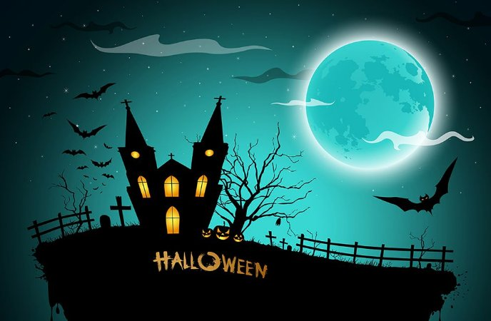 Painel de Festa em Tecido Sublimado 3d Halloween Assustador