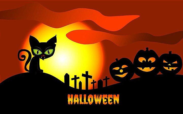 Painel de Festa em Tecido Sublimado 3d Gato Halloween
